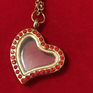 Jewelry - Floating Heart Locket Necklace with Rhinestones